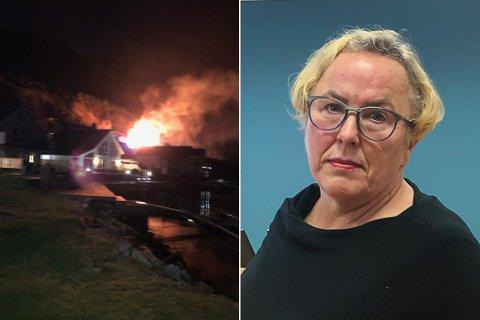 BRANN I NAOBLAGET: Clara Øberg fekk ein dramatisk start på morgonen då det begynte å brenne i nabolaget.