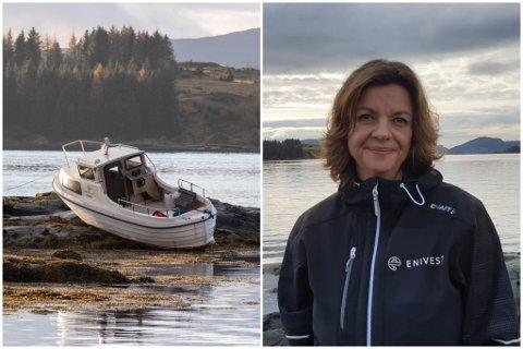 UVENTA BESØK: Margrete Lunde hadde ingen aning om at ein båt hadde køyrt seg på land på eigedommen hennar før Firda ringde.