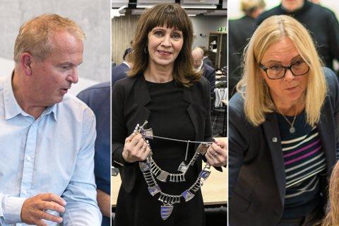 HEILT OPE: Både Helge Robert Midtbø (Ap), Jenny Følling (Sp) og Anne Lilleaasen (H) er aktuelle kandidatar til å ta over som ordførar etter Olve Grotle (H).