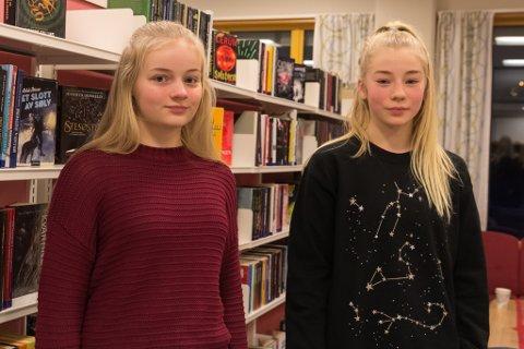 SKRIVEGLADE: Søskenparet Sunniva (14) og Ragnhild Tonning (12) driv med skriving på fritida og gler seg til å vere med i skrivekonkurransen til LUTT litteratur.
