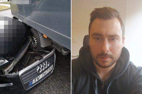 UHELDIG: Tore Heggheim fekk seg litt av ei overrasking då han stod på kontoret til fysioterapeuten onsdag.