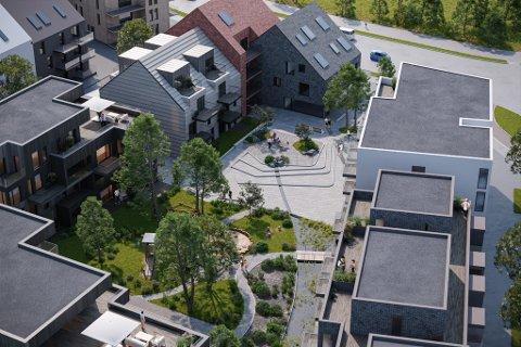 SKUDELØKEN: Slik ser Link Arkitektur føre seg korleis eine kvartalen i Skudeløken vil sjå ut.