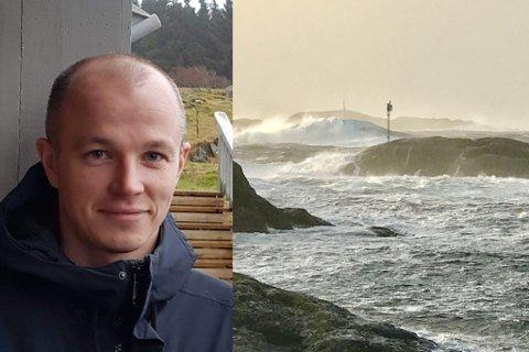SKEPTISK: Andreas Gåsvær er glad for at Helse Førde skal få ny ambulansebåt, men er skeptisk til at båttypen som er valt vil komme seg fram over alt. Bildet er frå det sørlege anløpet til Gåsvær i dårleg vêr.