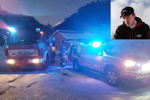 KOM FORT FRAM: Brannbilen frå Naustdal kom fort fram, då huset til Kim Horstad (innfelt) byrja å brenne.