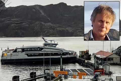 Magnar Hjartholm i Solund er skeptisk til flytting av hurtigbåtstoppen frå Krakhella til Hardbakke.