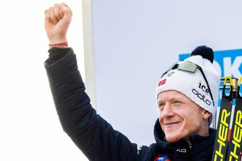 VANN: Johannes Thingnes Bø vann fellesstarten i Nove Mesto søndag. Bildet er frå jaktstarten i VM i Anterselva.