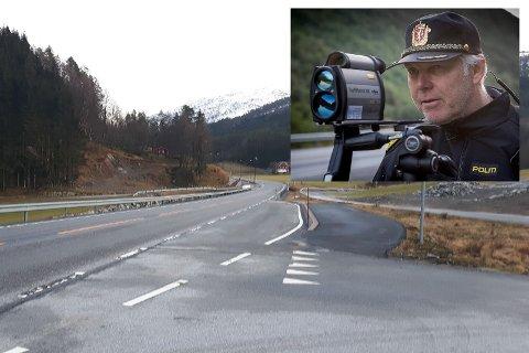 KONTROLL: Her, ved Birkeland i Gaular, stoppa Einar Vereide 21 fartssyndarar onsdag.