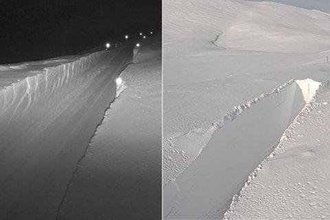 METERVIS MED SNØ: Bildet til venstre viser korleis såg det ut på Vikafjellet, rv. 13, Vossadalen torsdag 26. februar. Bildet til høgre er tatt frå same staden klokka 19.55 denne fredagskvelden. Sjølv om vegen no er brøyta, er det uvêr som gjer at opninga blir utsett til måndag.
