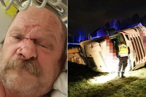 SKADD: Sjåfør Arnesen blei sengeliggande i ein månad etter tankbilvelten i Gloppen i fjor. Bilen måtte kondemnerast.
