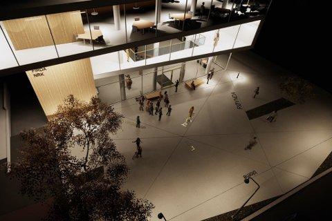 ROM FOR ORD: I illustrasjonen er det lagt ned ord i plassen framfor det som utbyggar håpar skal bli Nynorskhuset i Førde.