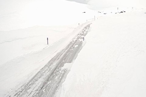 MÅNDAG MORGON: Bilde tatt av rv. 13 over Vikafjellet ved Vossadalen klokka 06.33 måndag morgon.