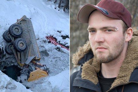 INNESPERRRA: Adrian Osland Antonsen var innesperra i hytta på denne dumparen. – Eg er så glad for at eg greidde å halde meg roleg oppi det heile, seier 23-åringen.
