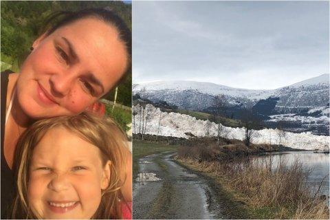 SÅG RASET: Silje Åsnes Skartstein såg raset saman med dottera Oline (6).