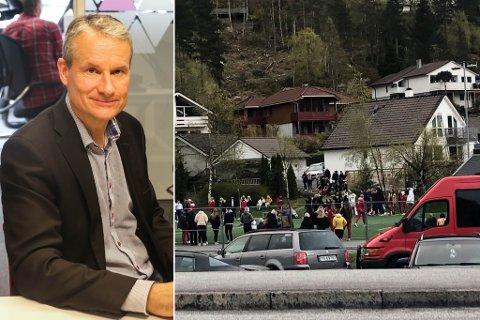 SAMLING: Torsdag kveld samla russen seg til fotballkamp i Vieåsen. Russen meiner at folk som kom til for å sjå på gjorde at det såg ut som dei var fleire enn dei var.