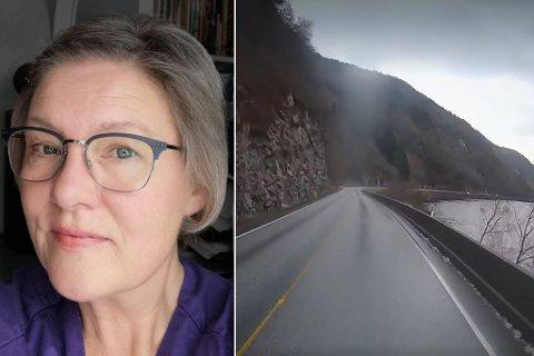 SKREMD: Solveig Fredriksen vart så skremd at ho ikkje klarer å plassere forbikøyringa heilt, men ho hende på den svingete og uoversiktelge strekka, før ein kjem inn i 70-sona på veg mot Førde.
