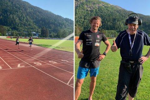 NORGESREKORD: Jøran Laukeland (43) er Førdes ferskaste norgesrekordhaldar. Her saman med gamletrenaren Håkon Løseth. Bildet til venstre er når rekorden ryk.