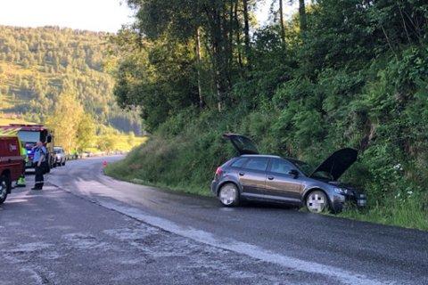 AV VEGEN: Ein bil køyrde måndag kveld av vegen nær Horstad skule i Naustdal. Føraren, ei kvinne, skal vere uskadd.