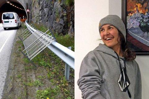 Ida Beate Løken måtte stoppe ved Hornnestunnelen då ho oppdaga denne senga midt i vegbana.