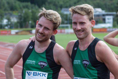 BRODERLEG HJELP: Knut Olav Øygard (til venstre) fekk god hjelp av tvillingbroren då han prøvde å ta NM-kravet.