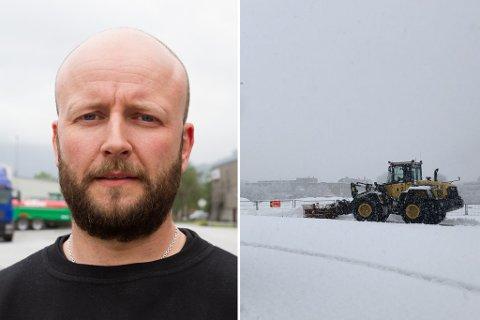 KVITT OVER NATTA: Frå å knapt sjå eit snøfnugg i 2020 kom det voldsomt med snø då den først fall. Dette bildet er frå Øyrane i Førde i 12-tida laurdag. Driftssjef i Førde bilberging, Vegard Johnsen, fortel at dei hadde venta meir å gjere på føremiddagen, knytt til snøfallet..