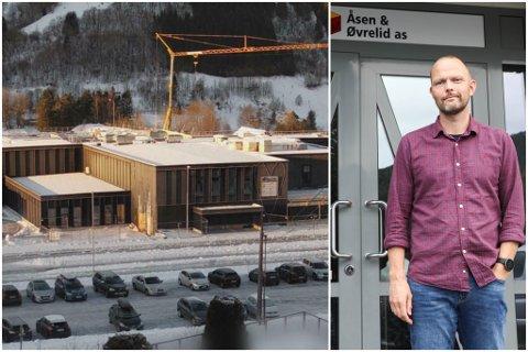 I GANG ATT: Måndag opna Åsen & Øvrelid byggeplassen på nye Dingemoen skule att, etter ei veke stengt på grunn av koronasmitte. – Det er ei utfordring å halde stengt, seier dagleg leiar Finn Ove Øen i Åsen & Øvrelid.