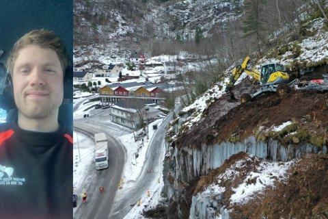 UTFORDRANDE: Borge Rygg AS køyrer gravemaskin der ingen skulle tru. No held han på å sikre den nye gangvegen mellom Heggebø og Leirvik sentrum i Hyllestad.