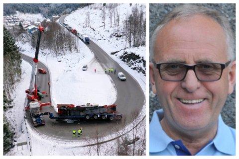 IKKJE KJEND: Olav Stangeland, konsernsjef i firmaet som vogntoget høyrer til, fortel at sjåførane ikkje er kjende på vegane her i området.