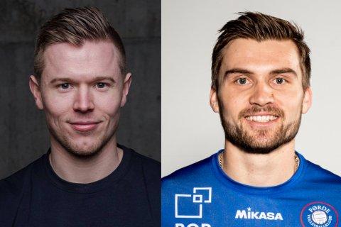 PODKAST-AKTUELLE: Lars Fredrik Tvinde (28, til venstre) og Bjarne Huus (25) er begge frå Førde og har sanka mykje volleyball-relatert edelt metall. No blir dei å høyre i ny podkast, som dei startar i privat regi.