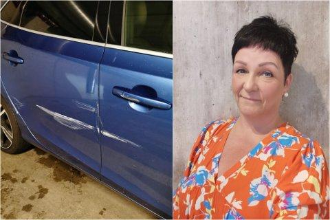SKADE: Mariann Oppedal fekk seg ei kjedeleg overrasking då ho kom tilbake til bilen etter ho var ferdig på jobb ved Sunkost på senteret.