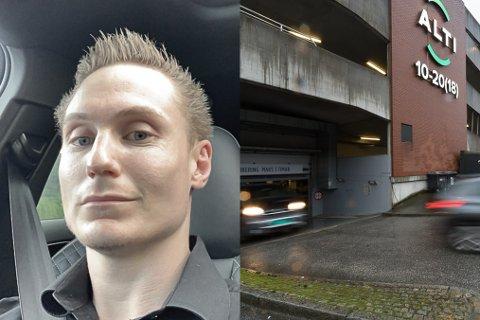 FARLEG: Arild Tefre parkerte bilen sin i parkeringskjellaren på Alti. Der tukla nokon med ventilane, og slapp ut lufta. Det kan vere farleg. No oppmodar han folk til å sjekke bilane sine.