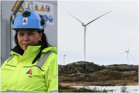MONTERT: No har Lutelandet vindkraftverk fått montert op sju av ni turbinar - og den første turbinen er allereie i drift.