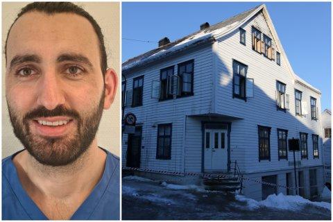 BRANN: Kocher Nazari (30) skulle eigentleg overta tannlegepraksisen i bygget som brann i Florø tysdag kveld. No er det sett på vent.