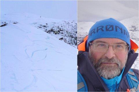 IKKJE SKREDLAND: Arne Høgelid trudde ruta var skredsikker. Likevel slo det store sprekker rundt han og kameraten då dei var på Skredfjellet måndag. – Namnet er klingande, men det er på andre sida av fjellet det rasar. Framsida er stupbratt, seier han.