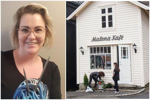 STRIKKEDILLA: Marita Mossestad på Malena Kafé opnar dørene for strikkeglade.