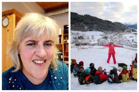 PÅ TOPP: Gunn Kristin Svendsen (til venstre) er styrar i Austrheim barnehage, som er blant dei best likte barnehagane i Gloppen. Til høgre ser vi ein gjeng på tur saman med tilsett Sølvi Brandsøy Austrheim.