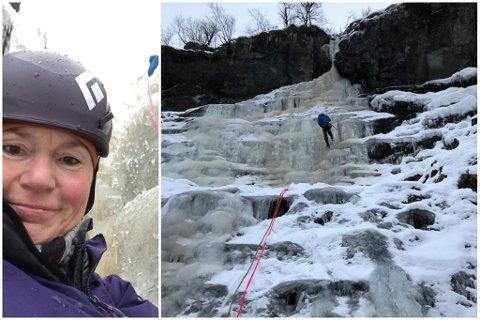 IKKJE FOR ALLE: Maria Ljunglöf seier at isklatring ikkje er for alle, men for ho er det midt i blinken. – Eg er veldig heldig som får vere med dei som har lang erfaring, seier ho.