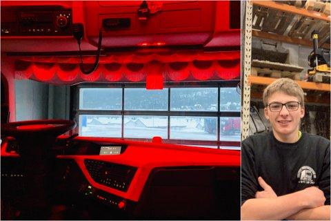 TIDLEG UTE: 15 år gamle Magnus Støylen Alme har ein hobby utanom det vanlege, lastebilstylist. Ein dag håpar han å kunne lage sin eigen heimekoseleg.
