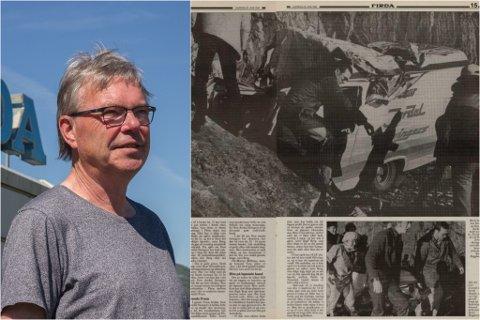 FØRSTE BILDET: Den tidlegare Firda-journalisten var ein av dei første på staden då New Jordal Swingers blei råka av ras i 1982.