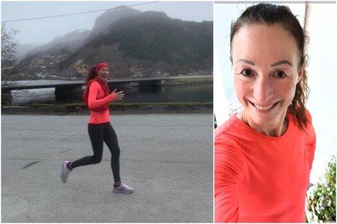 DIGITALT LØP: Det første løpet Marit Stuhaug deltok på saman med ultraløplandslaget, var på heimebane i Naustdal.