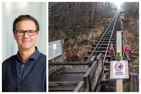REDDA: Trappene blir ikkje rivne, forsikrar Statkrafts Knut Fjerdingstad. Men nokon må ta ansvaret for oppgraderinga av trappene, men det blir ikkje Statkraft, fortel han.