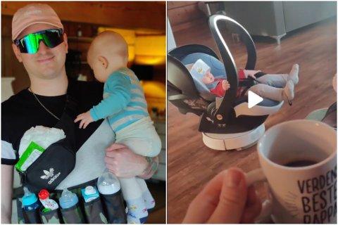 PÅ TIKTOK: Dag Kåre dokumenterer livet i pappapermisjon på TikTok. Det er det fleire som synest er morosamt.