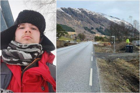 «FARTSKONTROLL»: Torstein Nordheim har sett opp ein refleksvest på tomta, i håp om å få bilistane til å seinke farten.