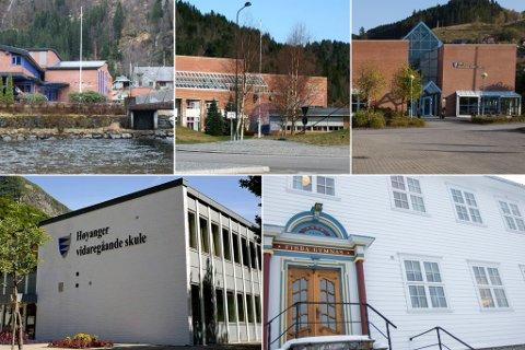 SAMLA: Dei tillitsvalde ved 11 vidaregåande skulane i det gamle Sogn og Fjordane står bak brevet. På bildet ser ein Hafstad, Øyrane, Dale, Høyanger og Firda VGS.