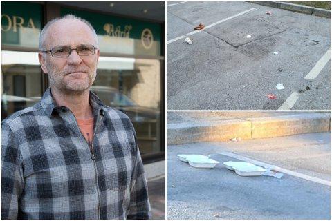 FORSØPLING: Jonny Tjønn er dagleg leiar på Elvegården. Nesten dagleg møter han på boss, som tilsynelatande kjem frå bilar, på torget utanfor bygget.