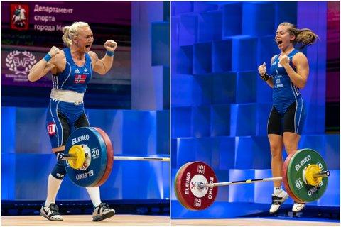 JUBEL: Både Ine Andersson (venstre) og Marit Årdalsbakke var nøgd med Europameisterskapet i Moskva i Russland.