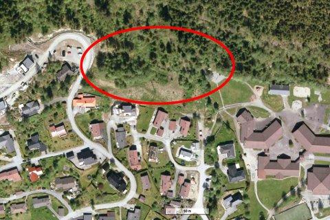 SKYTTARKVIA: I dette området ser Sunnfjord tomteselskap føre seg å bygge ein kombinasjon av bustadar og rekkehus. Til høgre ser vi Slåtten skule. Den raude markeringa viser omtrentleg område, og må ikkje sjåast som endelege tomtegrenser.