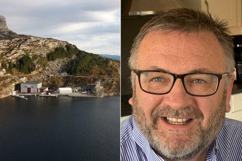 TOMTA: Familien Vilnes eig ei tomt på 22.000 kvadratmeter på Atløy, der 8000 av desse er ferdig planert og i bruk av familiebedrifta Atløy Båt & Marina.