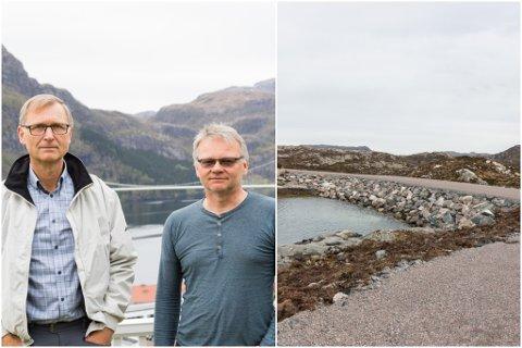 ULOVLEG: Ove Myklebust og Jarl Egil Haugsbø meiner det er bygd ulovleg på Lutelandet Vindpark.