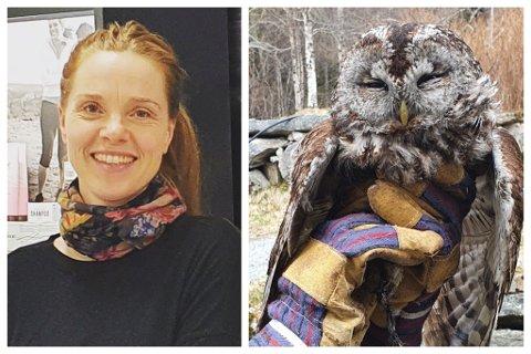 REDNINGSAKSJON: Anne Turid Bjørset og broren Bjørn greidde å redde denne ugla.– Den såg heldigvis ut til å greie seg fint, seier 41-åringen.