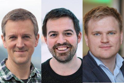 MÅLING: Erling Sande (Sp), Torbjørn Vereide (Ap) og Aleksander Øren Heen (Sp) ligg an til plass på stortinget, ifølge maimålinga i Sogn og Fjordane.